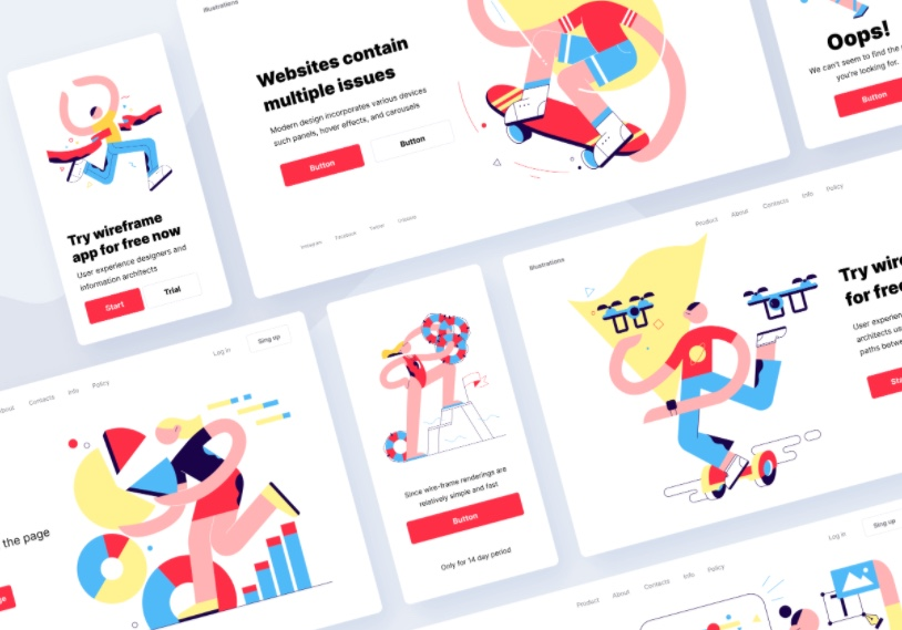 colorful png illustrations for landing page